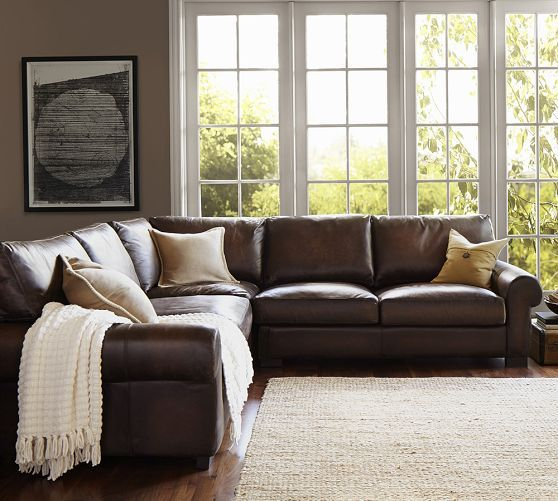 Beau Turner Leather 3 Piece Roll Arm L Shaped Sectional | Pottery Barn