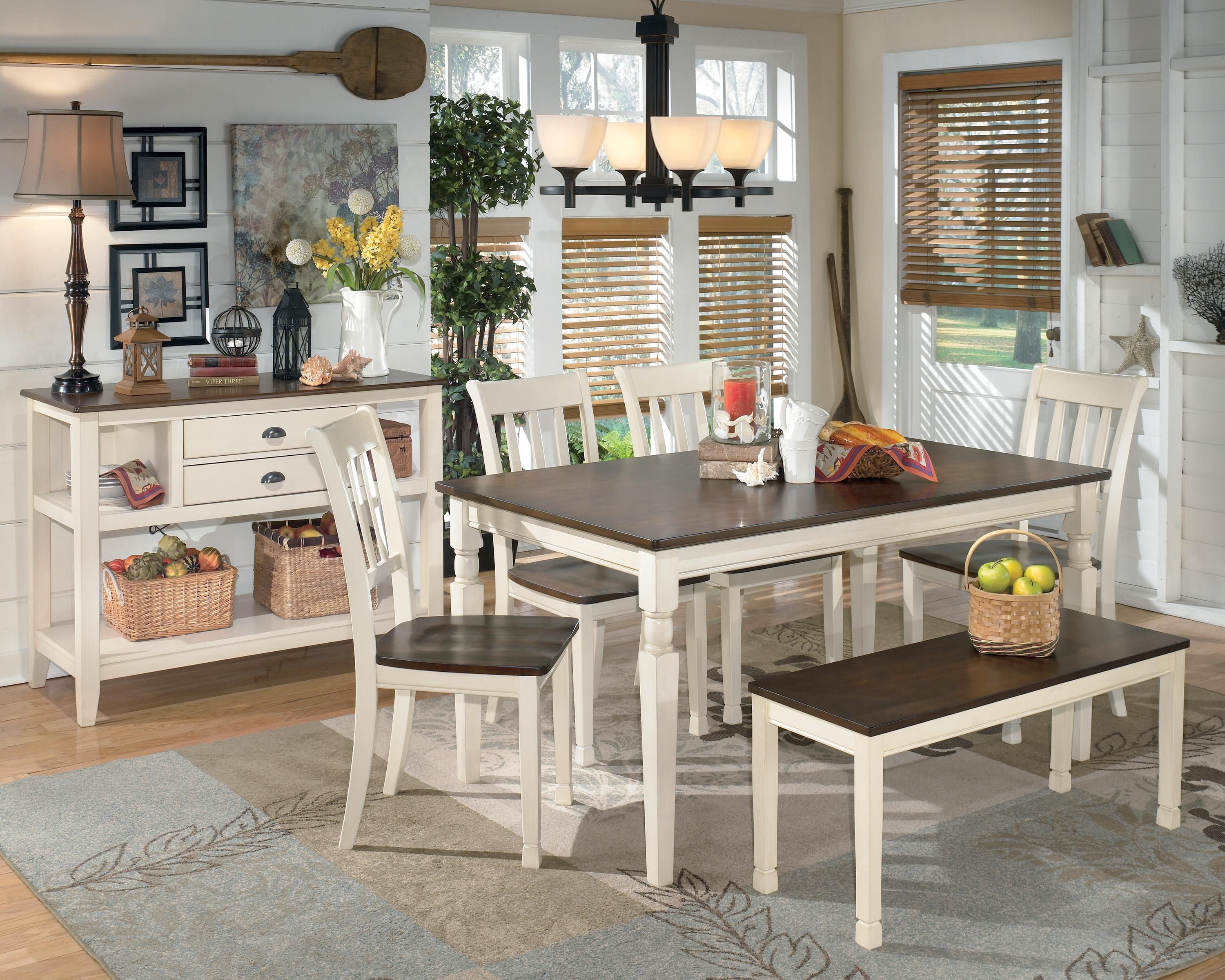 Whitesburg 6 Piece Rectangular Table Set With Bench By Signature Design By Ashley At Wayside Furniture Dining Room Server Rectangular Dining Table Dining Table In Kitchen