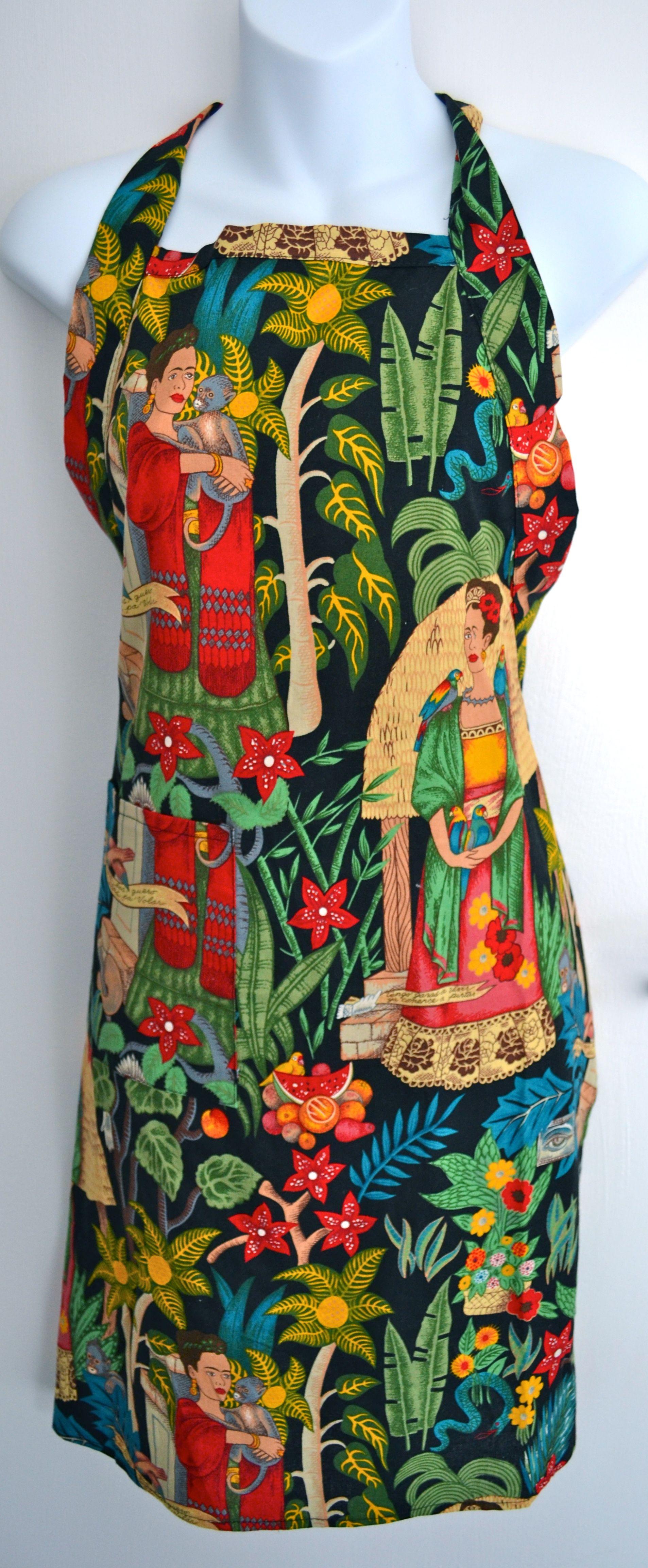 White ruffle apron australia - Frida Kahlo S Garden Apron Mexico Import Arts Australia