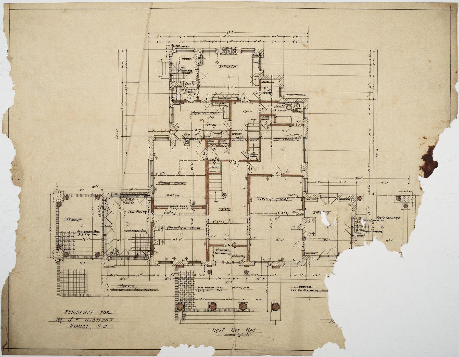 J P Gibbons House Hamlet Nc First Floor Plan How To Plan Floor Plans Victorian House Plans