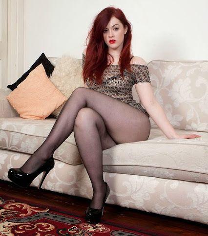 Redhead stockings Leggy