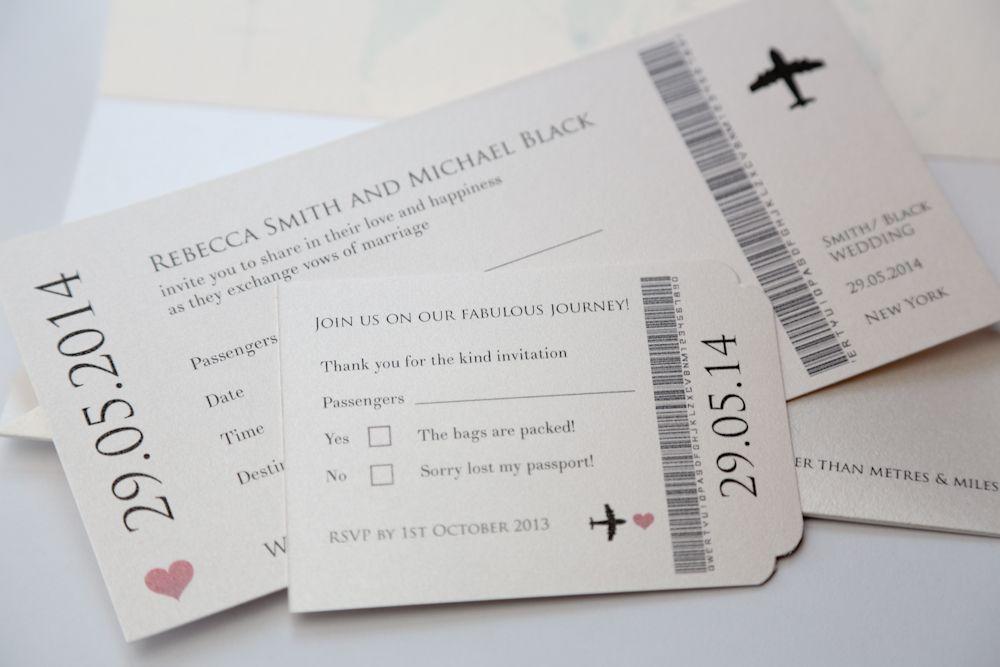 Wedding Ticket Invitations: Modern Travel Ticket Wedding Invitation Plane Ticket