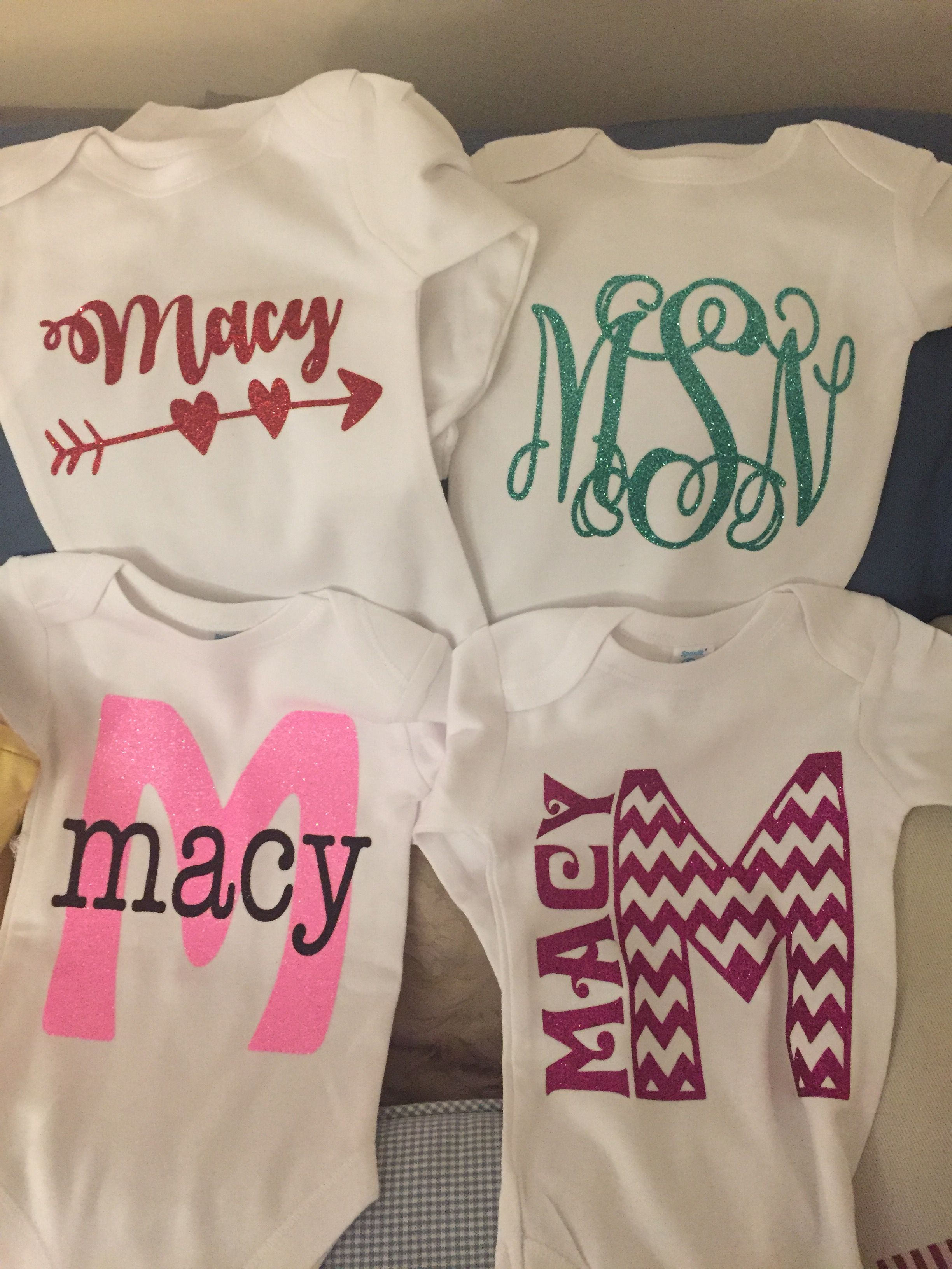 Personalized Baby Onesies With Glitter Heat Transfer Vinyl Htv Siser Easyweed Trendy Baby Onesies Personalized Baby Onesies Baby Girl Onesies