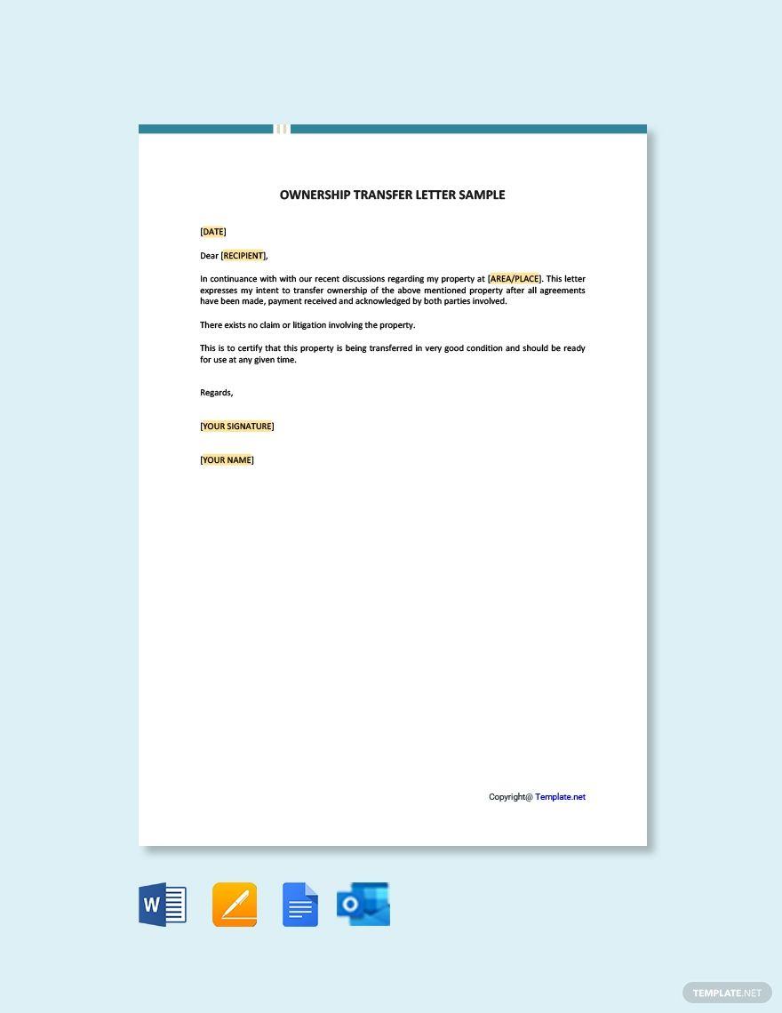 Ownership Transfer Letter Sample Template Free Pdf Google Docs Word Template Net Letter Sample Lettering Letter Templates
