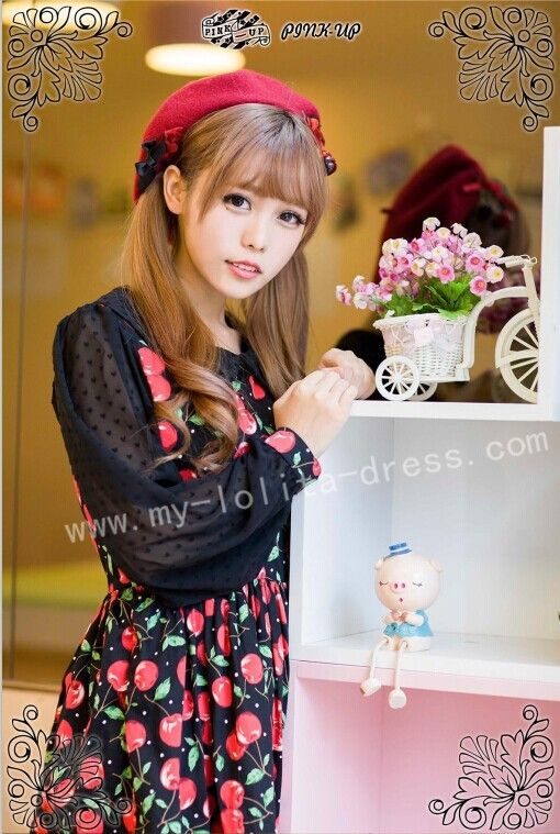 Sweet Cherry Strawberry Prints Lolita One Piece Dress $32.99-Cotton Lolita Dresses - My Lolita Dress