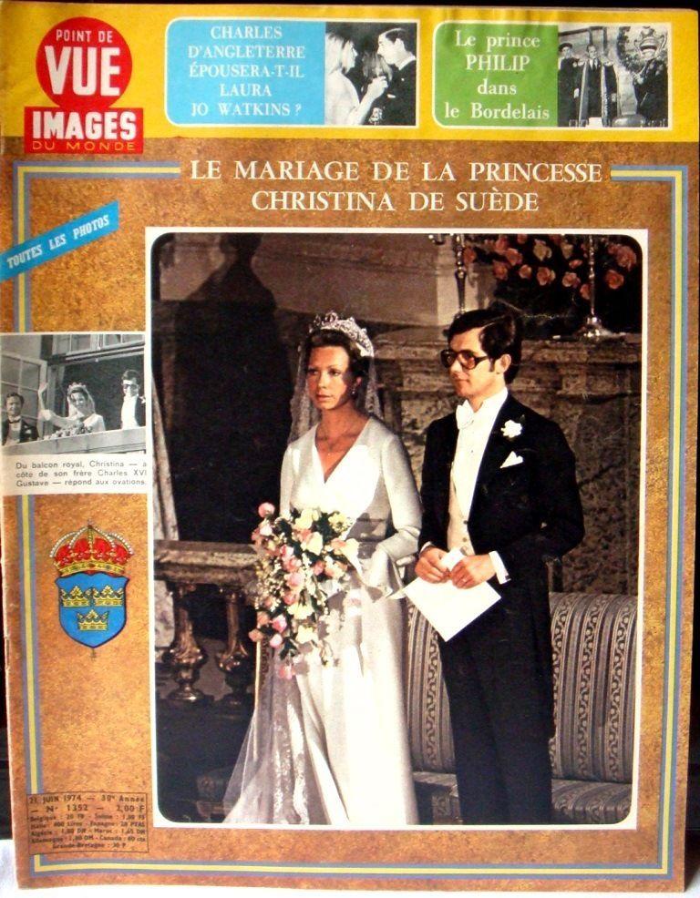 Point De Vue Images Du Monde 1974 Mariage De La Princesse Christina De Suede Fr Picclick Com Royal Wedding Dress Royal Tiaras Royal Wedding