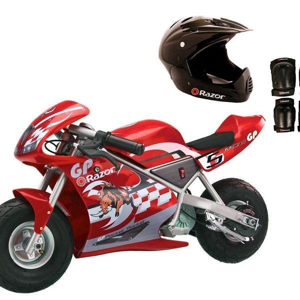 Razor Pocket Rocket 24v Mini Bike Electric Moto Bike With Helmet And Pad Set Red Moto Bike Mini Bike Bike