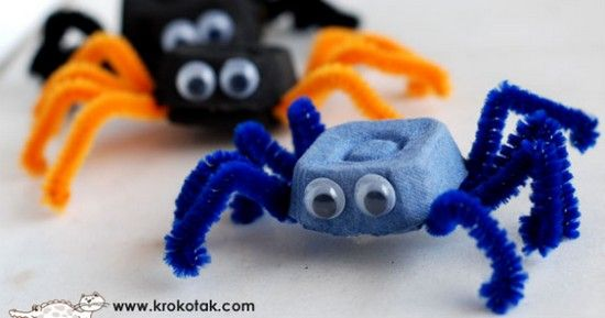 spider from egg cartons... super cute!