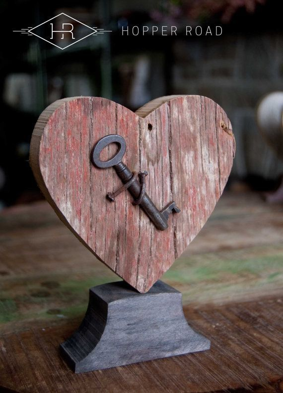 Photo of Rustic Heart w/ Vintage Key, Barnwood, Home Country Style, Shelf Decor, Barnwood Accent