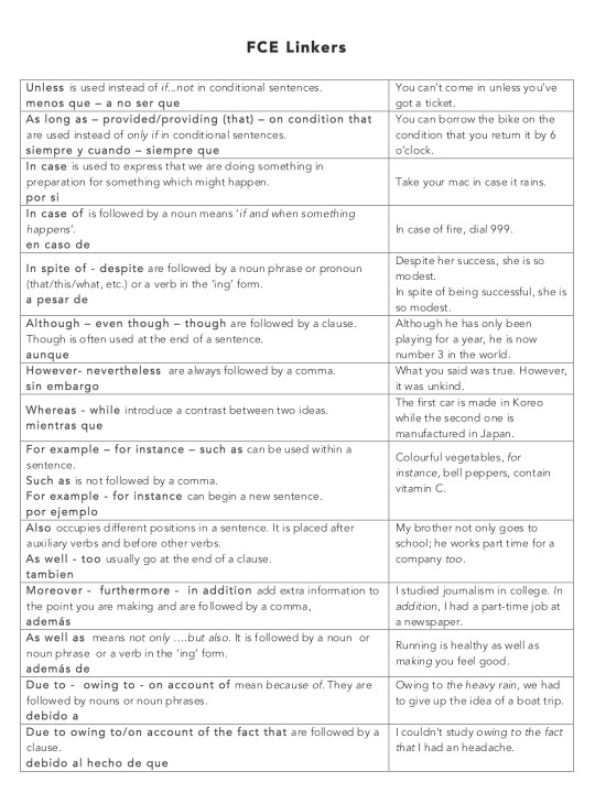 FCE Linkers | English Material | English, Esl, Worksheets
