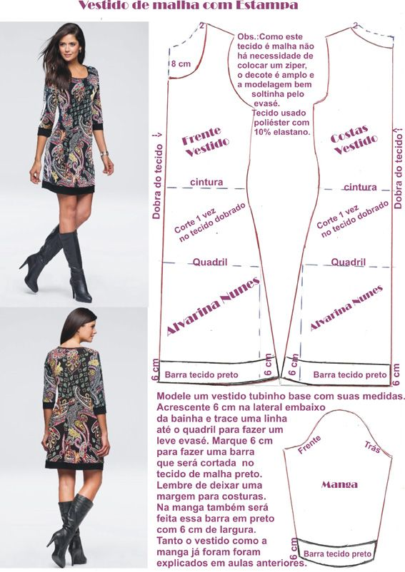 Dress pattern | modelos e variedades | Pinterest | Costura, Molde y ...
