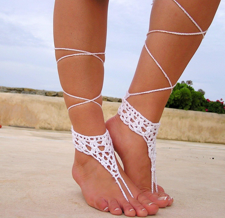 White Barefoot sandals. wedding sandals. hippie by