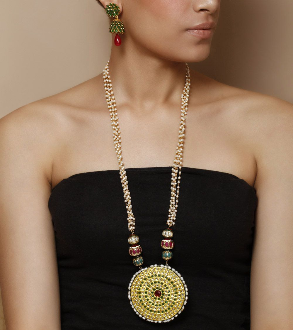 Stones and pearls embellished necklace set by indiatrend shop now on
