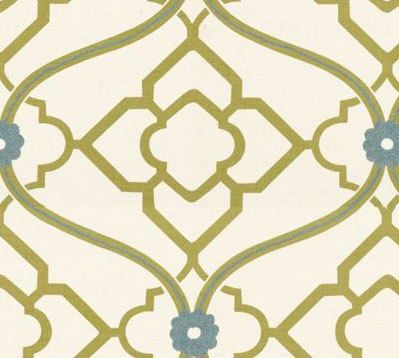 Zuma Kiwi Fabric  An embroidered floral design in a collo blue against a kiwi green lattice design. This fabric is suitable for upholstery, drapery, and bedding. See below for further information.  Details: -Content: 100% Cotton Base, 100% Rayon Embroidery - Vertical Repeat: 13 1/2 - Horizontal Repeat: 13 1/2 - Width: 55 - Care: Dry Clean Only  Usage: -Medium-weight Upholstery: Sofas, Indoor Benches, Ottomans, Footstools, Headboards, Window seat cushions, Kitchen Chairs, Dining Room...