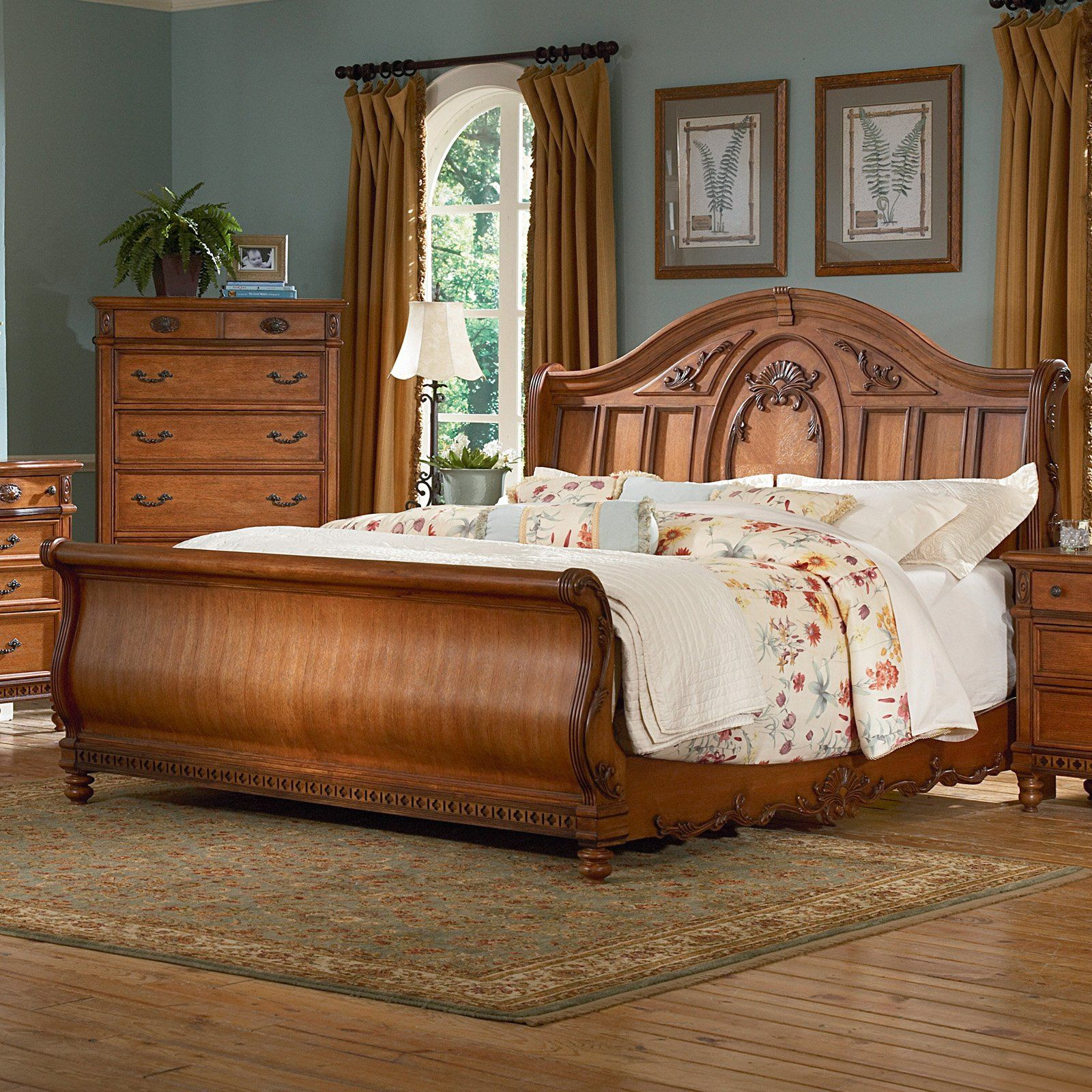 Southern Heritage Oak Sleigh Bed Set   Bedroom Sets At Hayneedle