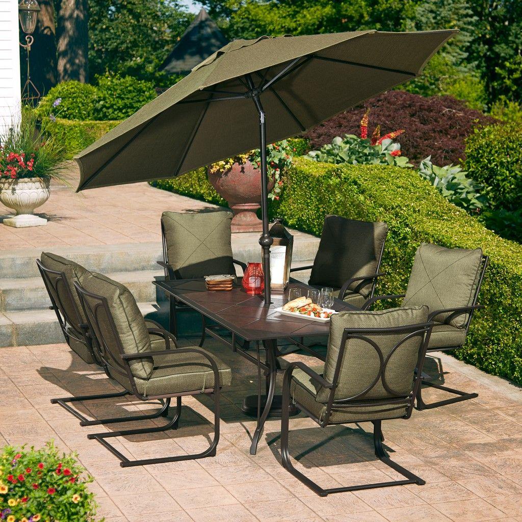 HD Designs Outdoors® Mary Hill 7 Piece Dining Set   Green/Black Walnut