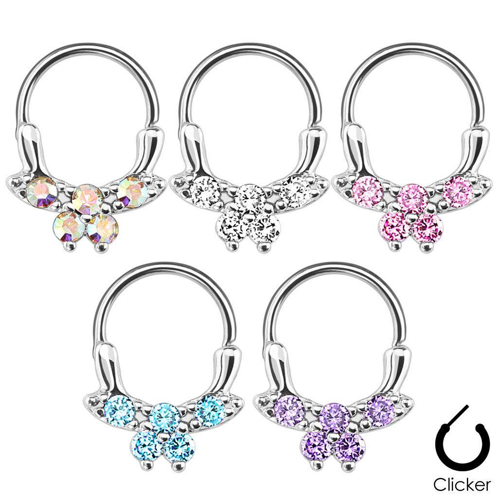 Belly button piercing needle size  Hinged Septum Clicker Hanger Steel Brass Daith Nose Ring Hoop