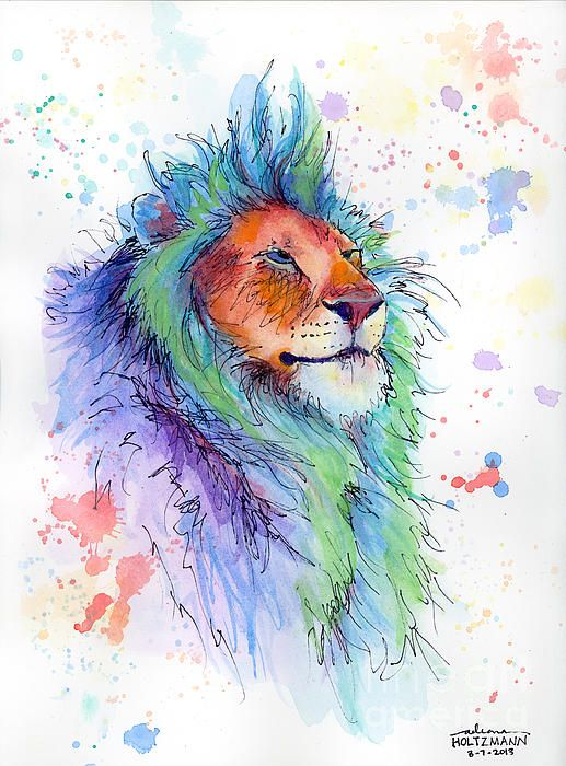 Easter Lion Watercolor Lion Drawings Watercolor Tattoo