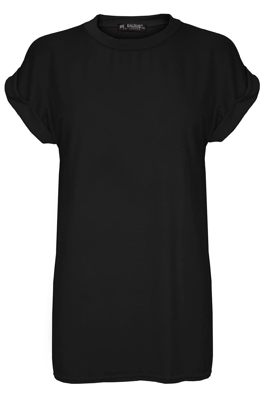 Womens Ladies Plain Baggy Oversized Tee Short Turn Up Cap Sleeve T Shirt Top