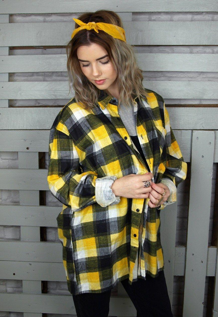 Black and yellow plaid vintage unisex flannel shirt ...