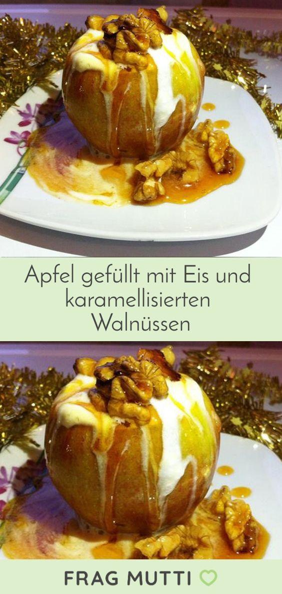 Apfel gefüllt mit Eis und karamellisierten Walnüssen - Rezept