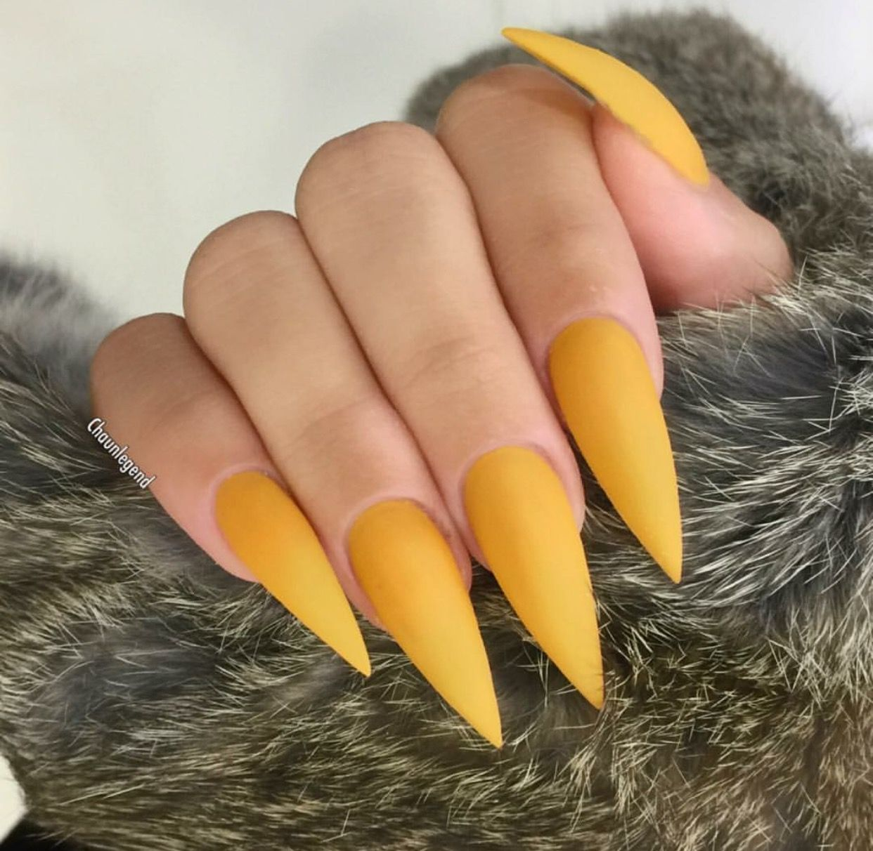Matte Yellow Stiletto Shape Acrylic Nails