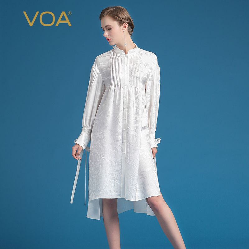f5e573b583e11c VOA 2017 Summer Fashion Silk Jacquard Office Blouse Elegant Long Sleeve  White Shirt Dress Plus Size Loose Women Tops