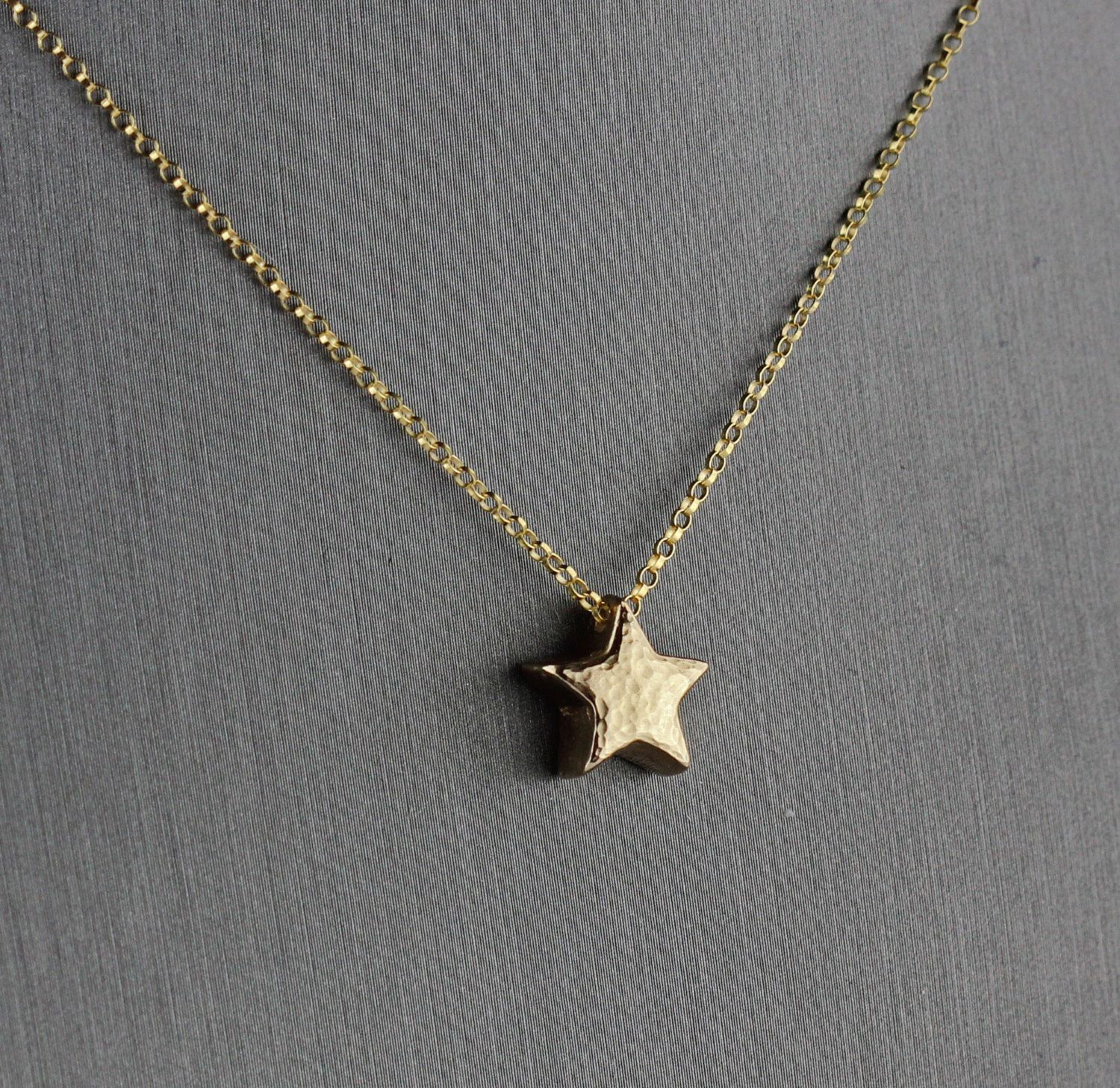 Tiny star necklace gold star pendant gold bronze metal clay jewelry