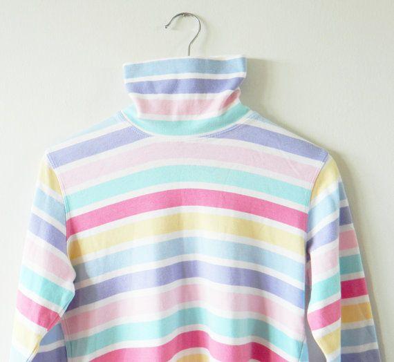 817f04b6a3 Vintage Pastel Striped Turtleneck / Soft Rainbow Striped Top / 90s ...