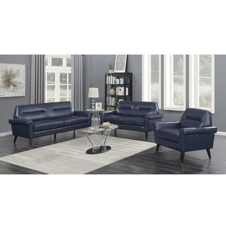 Camden Collection 3 Piece Modern Mid Century Faux Leather