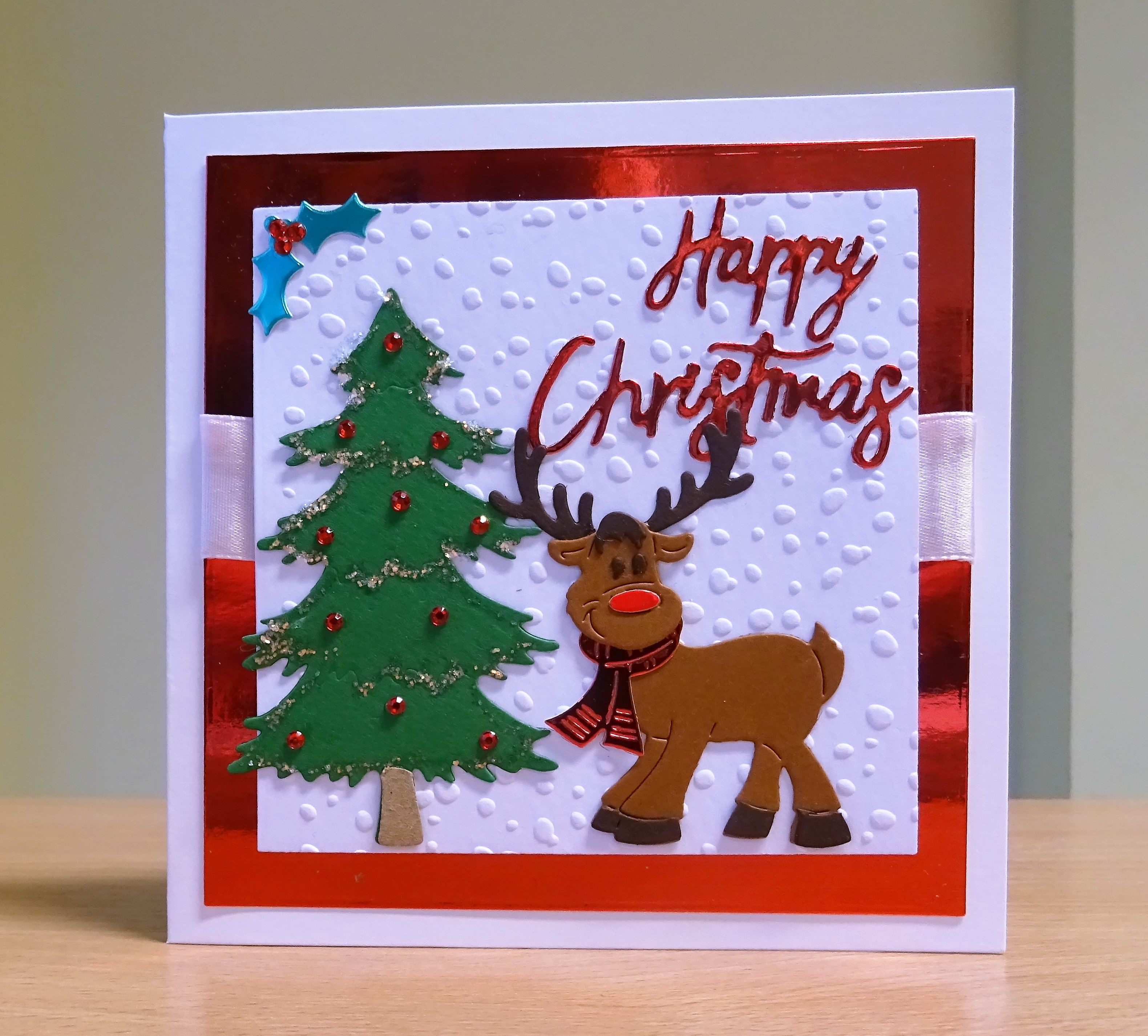Christmas Card - Cottage Cutz Reindeer Die.  To purchase my cards please visit CraftyCardStudio on Etsy.com.