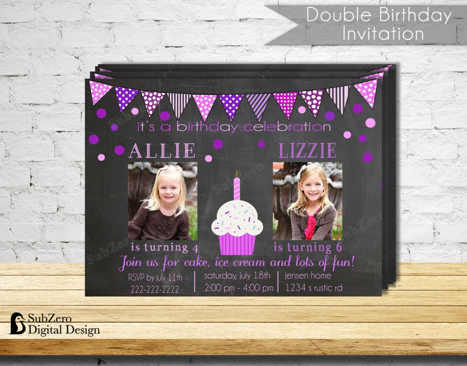 Double Birthday Party Invitation Pink and Purple Party Invitation