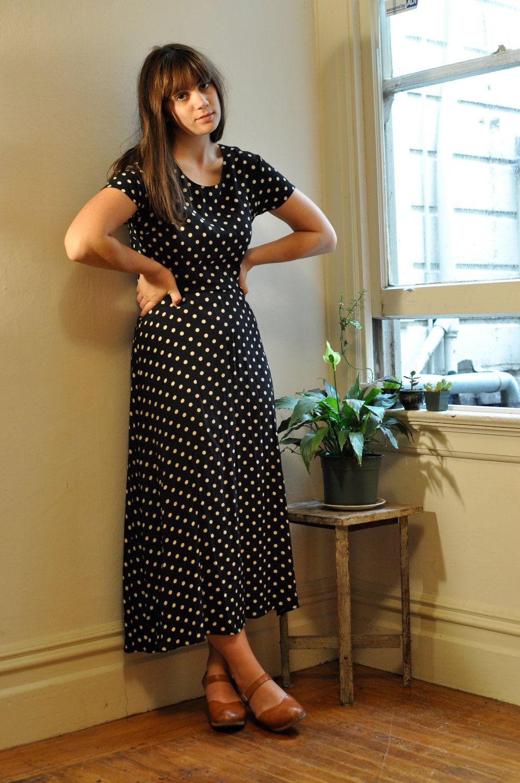 white maxi dress with black polka dots