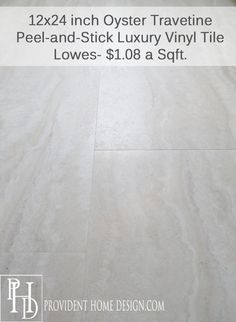 Lowes Style Selections Oyster Travertine Vinyl Tiles (Peel U0026 Stick) Her  Blog And Other Links Are Good, Too, Has Pics And Tutorial Links For  Flooring And ...