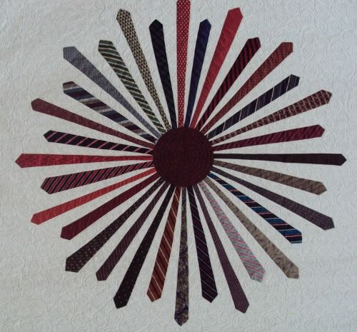 Tie Burst quilt by Shout4Joy at Quilting Board, based on the book ... : how to make a tie quilt - Adamdwight.com