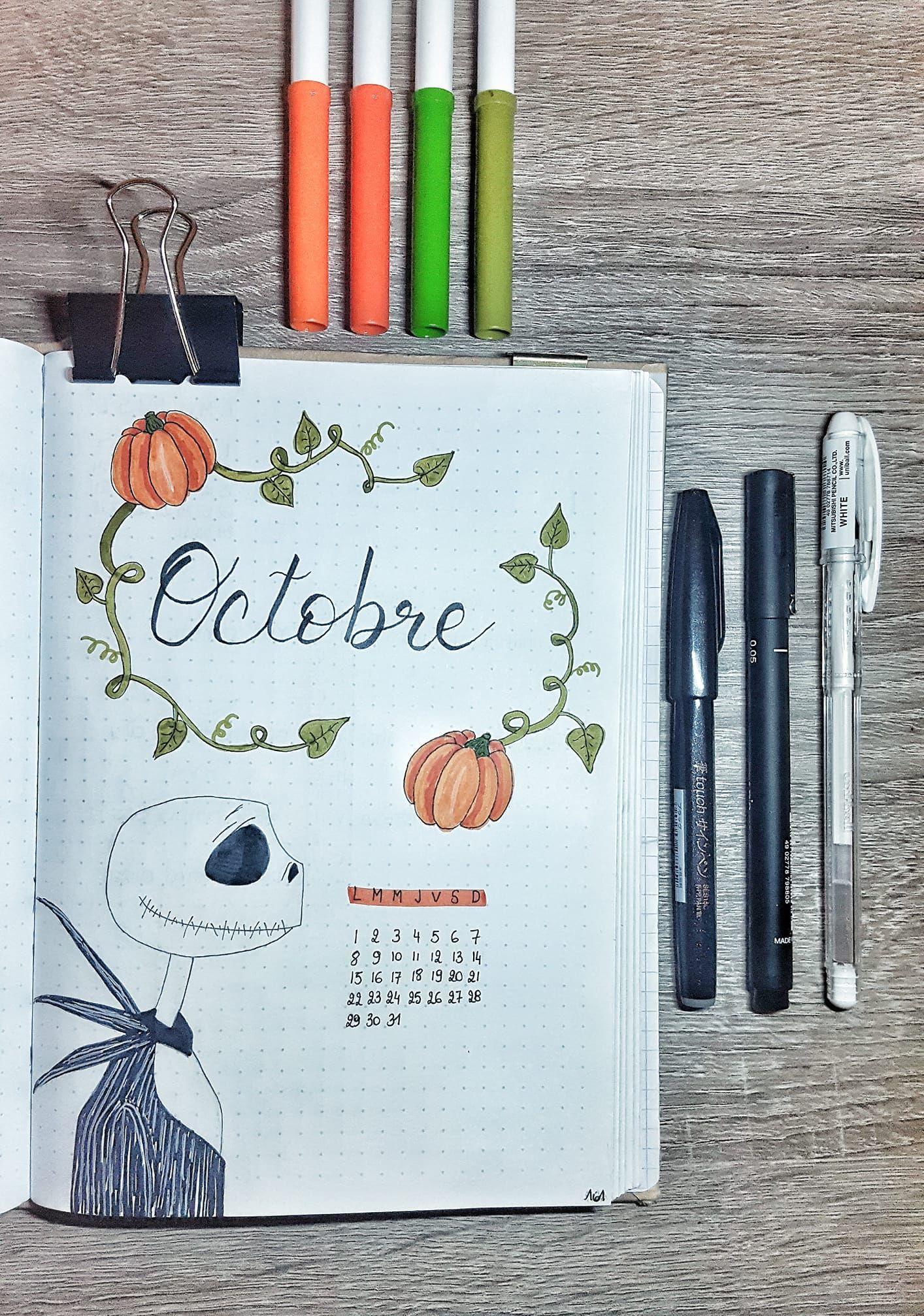 Mon Bullet journal - Mon Bujo - Mois d'octobre thème citrouille et halloween. Mr Jack inspiration Pinterest. Instagram : @Milimagination #bulletjournaloctobre
