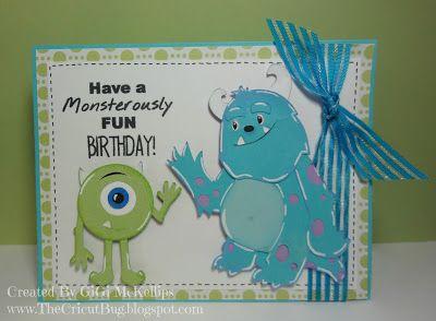 The Cricut Bug Monsters Inc Birthday Monsters Inc Crafts Cricut Cards Monster Inc Birthday