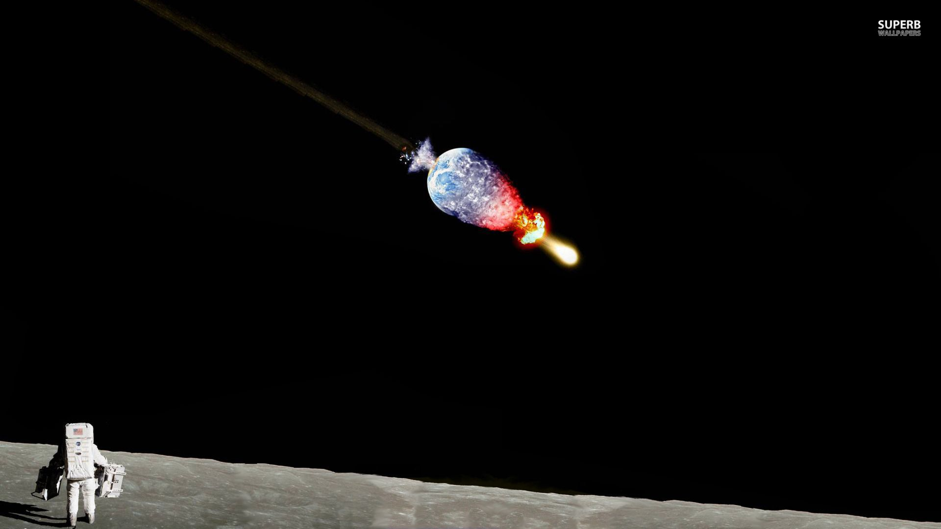 astronaut earth blowing up -#main