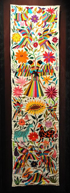 Otomi Embroidery Hidalgo Mexico by Teyacapan - would look great on that wasted bit of wall in the stairwell