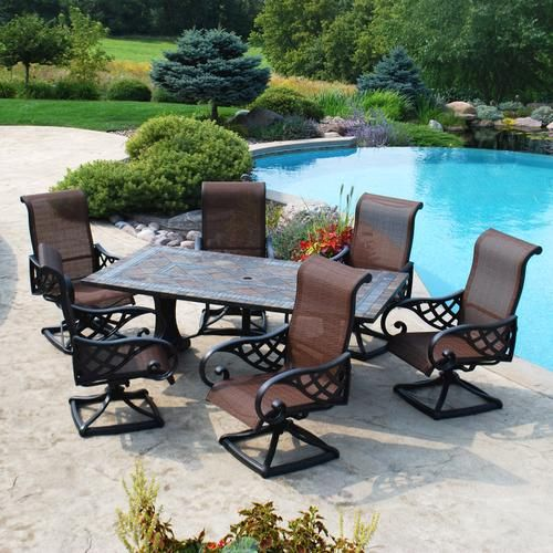 Backyard Creations 7 Piece Yukon Dining Collection At Menards Backyard Creations Patio Patio Furniture Collection