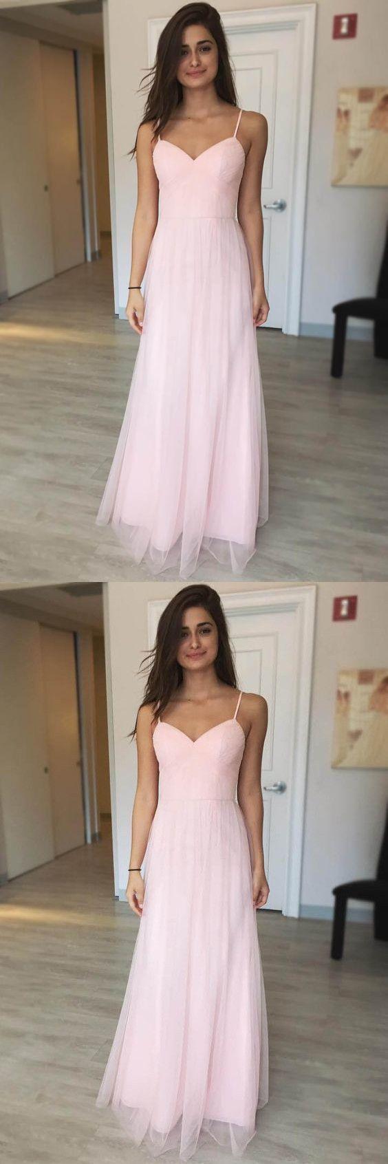 Pink chiffon prom dress long prom dresses spaghetti straps aline