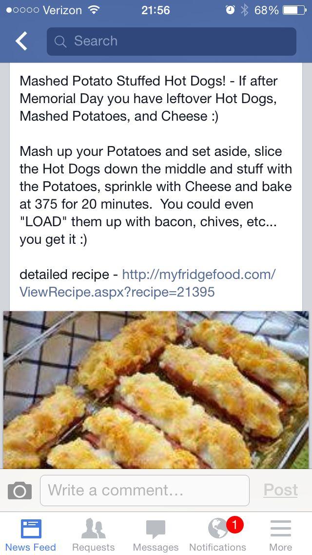 Mash Potato stuffed Hot Dogs