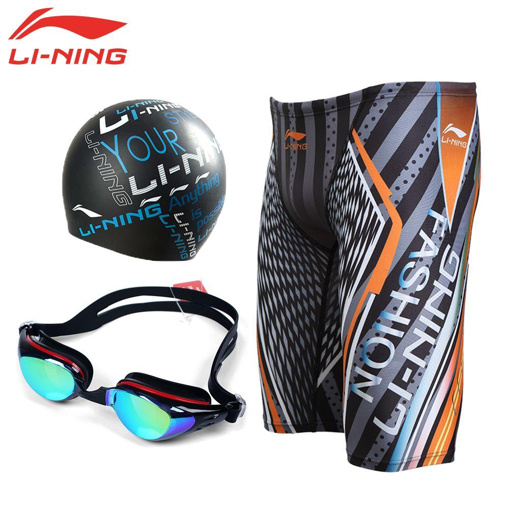 LI-NING Men's Swimming Set Male Swimming Goggles Swim Caps Jammer Trunk Men  Anti-UV Swimwear Quick Dry Swimsuit LSJK5… | Uv swimwear, Man swimming, Swim  accessories