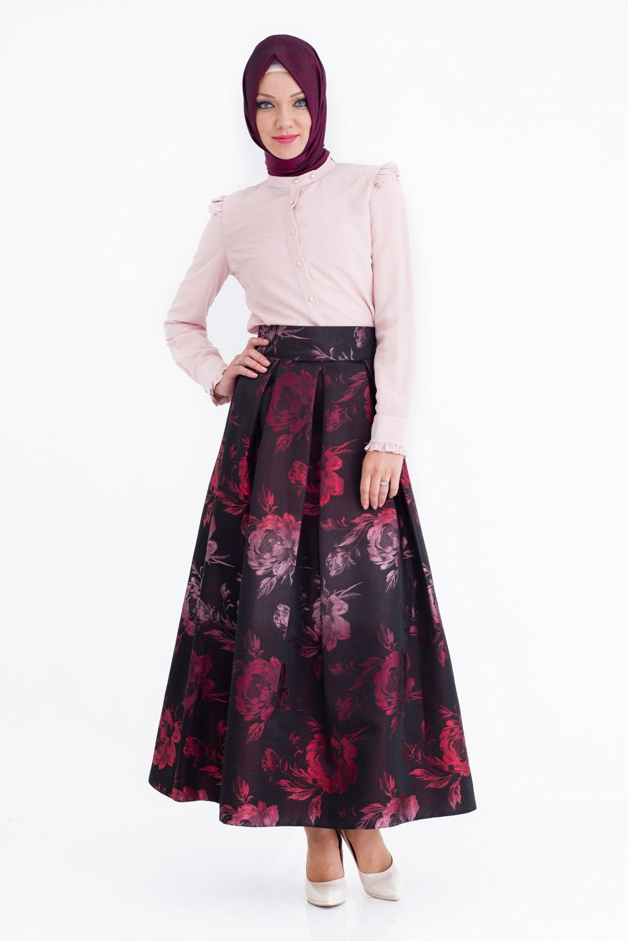 evening maxi skirt floral long skirt dark brown special occasion ...