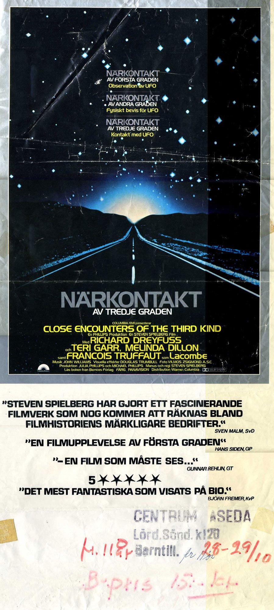 Close Encounters of the Third Kind, Sweden, 1977.
