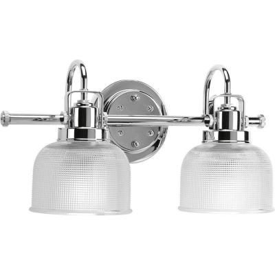 Progress Lighting Archie Collection 17 In 2 Light Chrome Bathroom Vanity Light With Glass Shades P2991 15 Bath Vanity Lighting Progress Lighting Bathroom Vanity Lighting
