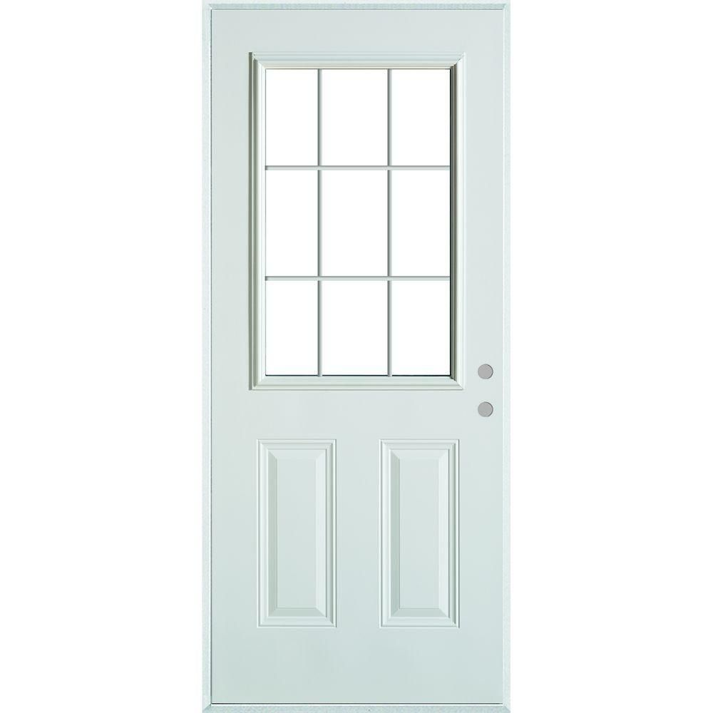 Stanley doors colonial lite panel prefinished white steel prehung front door with internal grille and brickmold   the home depot also rh pinterest