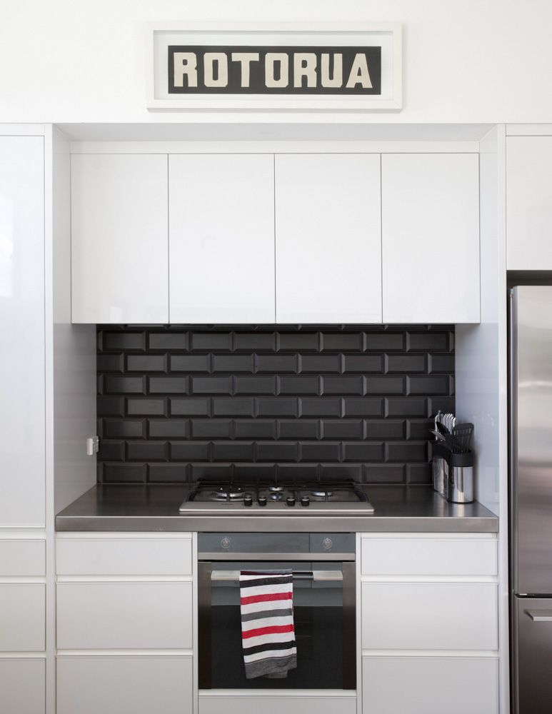Square Black Kitchen Splashback Tiles Google Search Kitchen