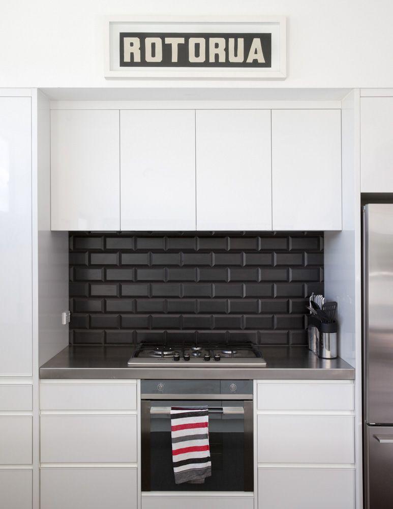 #kitchengoals black and white. black subway tile ...