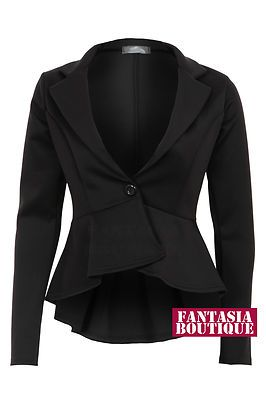 2497d5bbb8f9 New Ladies Long Sleeve Frill Shift Fitted Low Back Blazer Women's Jacket |  eBay £17.99